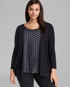 Karen Kane Plus Size Fashion Laser Cut Tunic | Bloomingdale's  #Karen_Kane #Black #Laser_Cutout #Plus_Size_Fashion #Bloomingdales