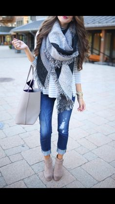 I already have this wool blanket scarf in greys but I don't have anything to wear it with.