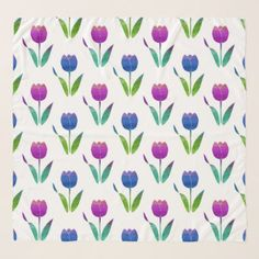 Blue Pink Violet Tulips Scarf  $63.28  by MartiGambaArt  - custom gift idea