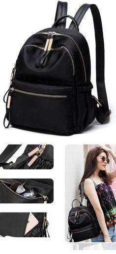 2d373dc8b Leisure Simple Pure Color Waterproof Oxford School Bag Student Backpack# backpack #Bag #rucksack