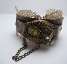 Prim Old Watch Cuff by sweetuntiqueboutique. Explore more products on http://sweetuntiqueboutique.etsy.com