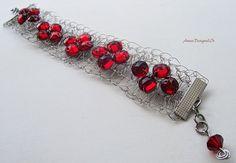 Red vintage crystals Crochet bracelet Artisan Gorgeous Swarovski crystal Glamerous bracelet SRAJD Certified jewellery designer Unique design Crystal Pendant, Crystal Necklace, Crochet Bracelet, Beaded Bracelets, Ruby Red, Beautiful Earrings, Vintage Sewing, Swarovski Crystals, Dangles
