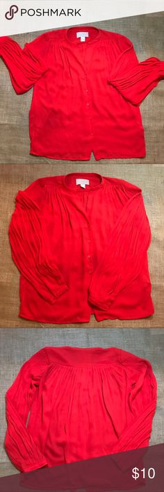 ✔️NWOT Beautiful H&M Candy Apple 🍎 Red Blouse ✔️ H&M✔️Candy Apple Red ✔️NWOT✔️Size 2=XS H&M Tops Blouses