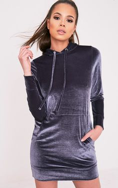 Harmanie Ice Grey Velvet Hooded Dress - Dresses - PrettylittleThing UK   PrettyLittleThing.com