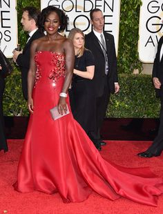 Golden Globes Red Carpet 2015 : Viola Davis in Donna Karan Atelier