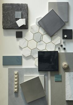 Mood board interior, material board, wall and floor tiles, color balance, c Mood Board Interior, Material Board, Wall And Floor Tiles, Wall Tiles, Waterworks, Colour Board, Colour Schemes, Color Palettes, Mood Boards