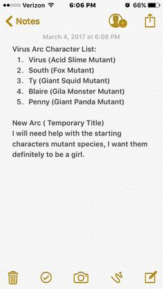This is what I have so far, I would like to hear some suggestions for the New Arc's main character and what her mutation should be