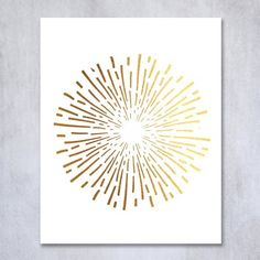 Burst Gold Foil Decor Print Abstract Circle Fireworks Concentric Lines Sun…