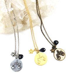 Zodiac Necklace Libra Birthstone Sapphire by QueenandMuse on Etsy https://www.etsy.com/listing/120236777/zodiac-necklace-libra-birthstone