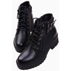 Black Platform Lace Up Ankle Boots ($72) ❤ liked on Polyvore featuring shoes, boots, ankle booties, choies, clothing - shoes, black bootie, lace up boots, platform booties, black boots and lace up booties