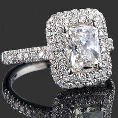 2.23 TCW G/H-VS2 Radiant Cut Diamond Halo Engagement Ring 18k White Gold