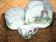 Shelley Queen Anne Art Deco China Tea Cup Trio