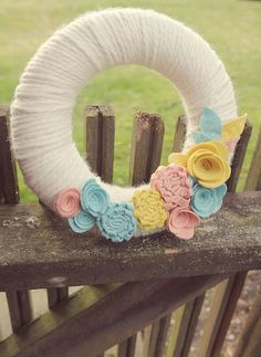 Spring / Easter Wreath - Felt Flowers and Leaves - 8 -inch Yarn Wreath by Catshy Crafts on Etsy, $50.00