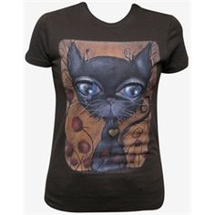 Poker Black Cat with Big Eyes by Abril Andrade Griffith Tattoo T Shirt. Abril Andrade Griffith studied at a fine art school in Lleida, Spain. Influenced by the Gothic Subculture and childrens illustrations, Abril created a fantasy world of surreal creatures with enormous eyes. Her preferred mediums are acrylics and oil base cremes. She is inspired by Salvador Dali, Joe Capobiano, Frida Kahlo, and Octavio Ocampo. This surreal cool cat Poker has a yellow heart on his chest. Cats With Big Eyes, Tattoo T Shirts, Girls Tees, Girls Hoodies, Gothic Outfits, Alternative Fashion, Hooded Sweatshirts, My Style, Lowbrow Art