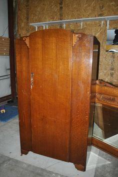 1960s english tiger oak art deco armoire closet wardrobe antique english pine armoire