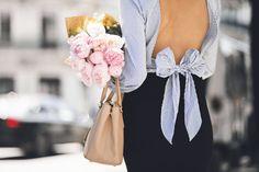 Peonies, a bow shirt & sassy street style look. — DYROGUE  Fashion Blogger Diana Rogo Wearing a Zara Top, Mermaid Skirt and Prada bag. Bow Shirts, Mermaid Skirt, Prada Bag, Street Style Looks, Zara Tops, Peonies, Sassy, Ruffle Blouse, My Style
