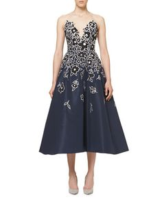 Floral-Embroidered+Strapless+A-Line+Cocktail+Dress,+Indigo+by+Carolina+Herrera+at+Neiman+Marcus.