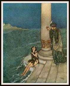 "Vintage Art Print Wall Decor Nursery Print ""The Little Mermaid"" by Edmund Dulac, 8.5 x 11, Reproducttion Unframed"