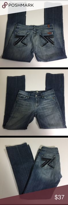 7 for all mankind Flynt Bootcut Jeans, size 26 7 for all mankind Flynt Bootcut Jeans in size 26. Flat lay measure of the waist is 14.5. Rise is 7.75, inseam is 30.5,  and leg opening is 8.75. Features black 7's and crystals on the rear pockets, factory fading and whiskering. Made from 98% cotton and 2% polyurethane. In overall very good condition, please ask if you have any questions. 7 For All Mankind Jeans Boot Cut