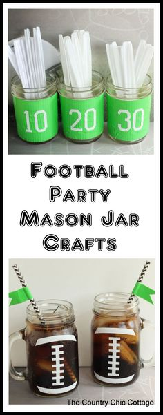 Football Party Mason Jar Crafts -- simple ideas to use at your next football party! These fun football party mason jar crafts are super easy to make and will be great decorations for any football party. Get step by step instructions here! Football Banquet, Football Tailgate, Football Themes, Football Snacks, Football Birthday, Football Parties, Football Season, Tailgate Parties, College Football