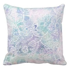 Pastel purple lavender watercolor floral pattern throw pillow - lace gifts style diy unique special ideas
