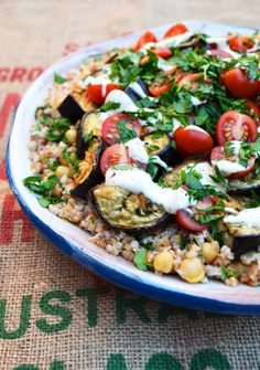 Farro, eggplant and chickpea salad – via One Equals Two