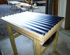 Picture of Tin is then installed for the roofing material.