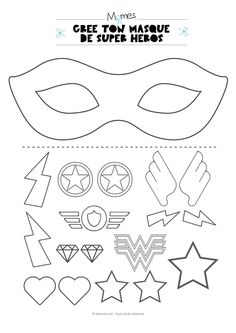 Mardi Gras 2019 Ideas PinWire: Original Mother's Day gift idea – Become a superhero or a … 29 mins ago – Theme Carnaval Masque Halloween Masque Clown Mask Template Christmas … Comic Hero Masks comic book heroes comic masks Superhero Party . Superhero Mask Template, Diy Superhero Costume, Superhero Capes, Superhero Classroom Theme, Superhero Birthday Party, Diy With Kids, Crafts For Kids, Super Heroine, Super Hero Costumes