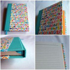 Caderno Capa Dura Letras Vintage   www.munayartes.com