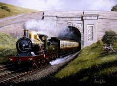 High quality print off a superb original oil paintings will stand out in any room. SIZE APPROX x Steam Trains Uk, Train Illustration, Train Art, Railway Posters, Steam Locomotive, Gas Station, Print Pictures, Great Britain, My Drawings