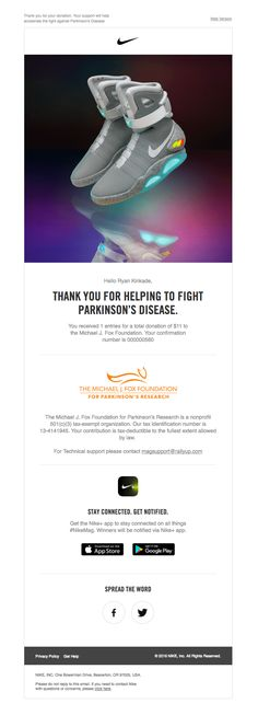 Your Michael J. Fox Foundation donation receipt