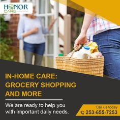 How to receive grocery shopping assistance for your seniors? Visit Honorcare.com & hire qualified and compassionate caregivers today.  Reach us @253-655-7253. You Call, Caregiver, Compassion, First Love, Shopping, Puppy Love