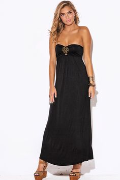 Black-Medallion-Bejeweled-Strapless-Evening-Party-Maxi-Dress from Bonita Moda Boutique