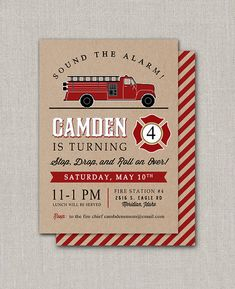 Fire Engine Birthday Invitation by announcingyou on Etsy