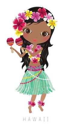Hawaii Travel Doll ~ by Veronica Alvarez Arno Stern, Costumes Around The World, 3d Quilling, Cute Clipart, Thinking Day, We Are The World, Art Graphique, Luau Party, World Cultures