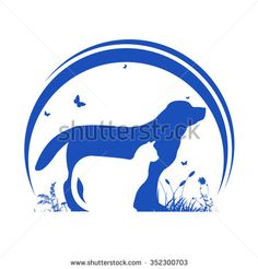 Dog and Cat and nature Silhouette