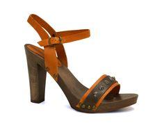 High heels wood sole sandals in orange calf leather - Italian Boutique €72