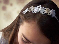 Headband Bohemian marriage - bridal boho hair ceremony bridesmaids - lace head accessories and silk wedding art craft