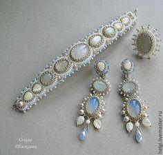 """Купить Комплект """"Лунный сад"""" - белый, бежевый, кремовый, лунный камень, листики, комплект украшений"""