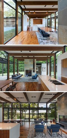 This modern living room with its bluestone fireplace, the kitchen and the dining room all share the same open space. Open Kitchen And Living Room, Open Space Living, Dining Room, Kitchen Dining, Modern Spaces, Living Room Modern, Living Room Designs, Modern Fireplace, Living Room With Fireplace