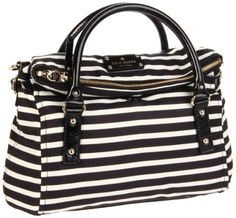 Amazon.com: Kate Spade New York Kate Spade Nylon Stripe Small Leslie Satchel,Black/Cream