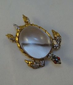 """1940s Trifari """"Jelly Belly"""" Turtle Pin Sterling Silver Vermeil Lucite 