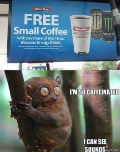 Ilmainen pieni kahvi energiajuomien ostajille