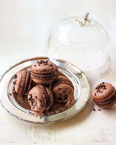 Double chocolate macarons from Chocolat by Eric Lanlard Chocolate Macaroons, French Macaroons, Macarons, Macaroons Flavors, Fun Desserts, Dessert Recipes, French Desserts, Dessert Ideas, Cookie Recipes
