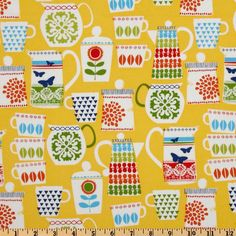 Michael Miller Retro Put A Lid On It Citrus Yellow - for kitchen curtains