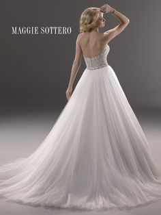 3c2aed9636a19 Maggie Sottero 'Esme Marie' size 6 used wedding dress back view on model  Maggie