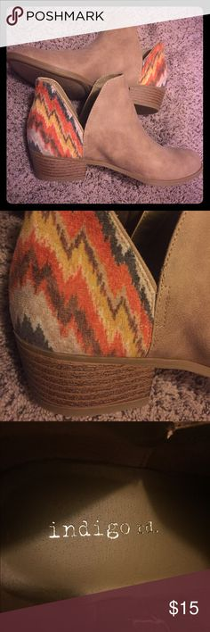 Indigo Rd Ankle boots size 7 - never worn outside! Light brown/taupe colored ankle boots with color detailing on the heel.  Size 7 never worn outside, EXCELLENT condition   Beautiful, classy, and rustic Indigo Rd Shoes Ankle Boots & Booties