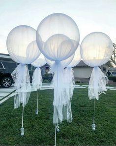21 Ideas For Bridal Shower Balloons Tulle Wedding Ideias, Diy Wedding, Dream Wedding, Wedding Day, Wedding Dress, Tulle Balloons, Wedding Balloons, Balloon Balloon, Bridal Shower Balloons
