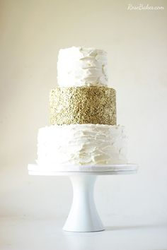 50th Wedding Anniversary Cake with Edible Gold Sequins...