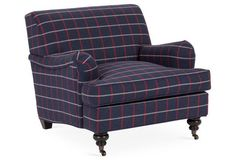 Bradley Roll Arm Chair, Plaid